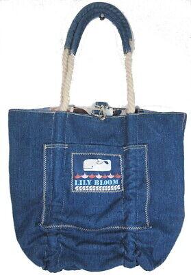 REVERSIBLE Denim Nautical Print LILY BLOOM Tote BAG Adjustable Rope Strap WHALES - Nautical Bag
