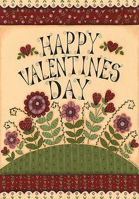 "Love Valentine's Day Garden Flag Primitive Floral 12.5"" x 18"" Briarwood Lane"