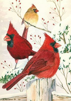"Cardinals in Winter Garden Flag Birds Seasonal 12.5"" x 18"" Briarwood Lane"