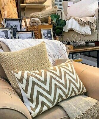 Pottery Barn Chevron Lumbar Pillow Cover Taupe 16x26 Crewel Embroidered