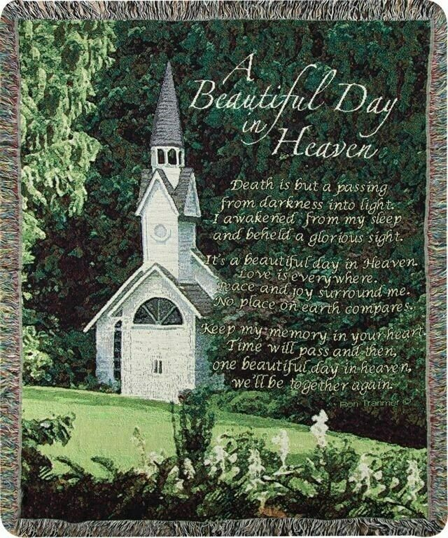 """Throw-A Beautiful Day In Heaven-Bereavement-Tapestry (50"""" x 60"""")"""