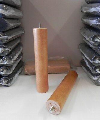 Pack 4 patas de somier cilindricas de madera con rosca. Color haya