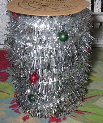 Vintage Style Retro Spool of Aluminum Beaded Tinsel 24 feet Christmas New