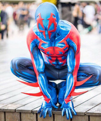 2099 Ultimate Spider-Man Costume Muscle Zentai Suit Cosplay Halloween Blue &