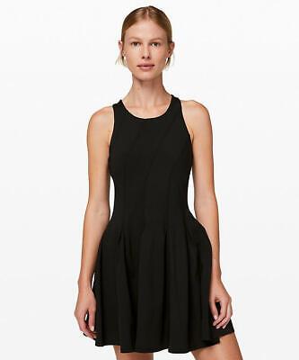 Nwt Lululemon Tennis Court Crush Dress Black Size 6 Retails $128