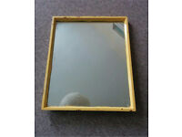 Vintage rectangular mirror with painted wood frame