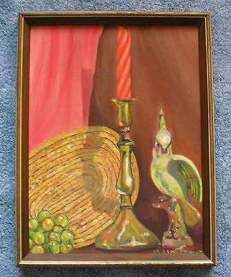 VINTAGE FRUIT GARDEN GRAPES EXOTIC BIRD CANDLESTICK BASKET STILL LIFE PAINTING