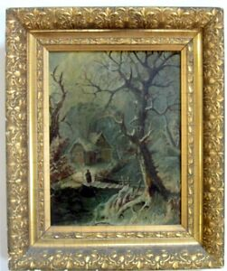 Circa 1800s oil painting 8 x 10 + frame size