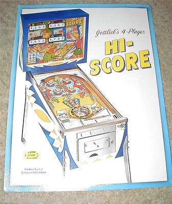 Gottlieb HI SCORE Original 1967 NOS Flipper Game Pinball Machine Promo Flyer