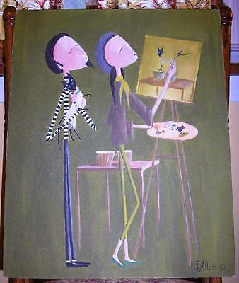 NEW YORK NY SIAMESE CAT BEATNIK DRUM MUSICIAN ARTIST SELF PORTRAIT OIL PAINTING