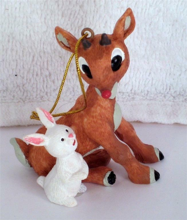 Cute RUDOLPH Sitting with WHITE RABBIT Xmas Ornament