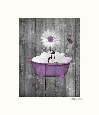 Purple Butterfly Movie (Purple Bathroom Wall Art Picture, Daisy Flower Butterfly Farmhouse Photo)