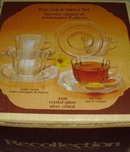 INDIANA Glass RECOLLECTION Madrid 8 PC Cup & Saucer Set - 4495 Vintage New/Box