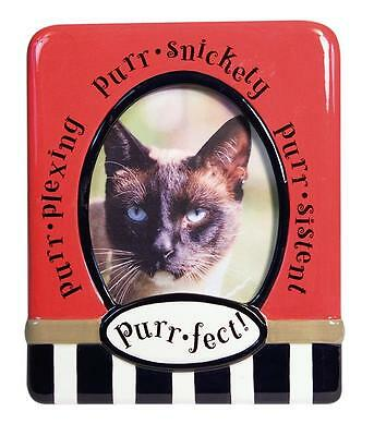 CAT LOVER PET PHOTO PURR-FECT PICTURE FRAME NEW 4 x 6 RED CERAMIC * LAST ONES *