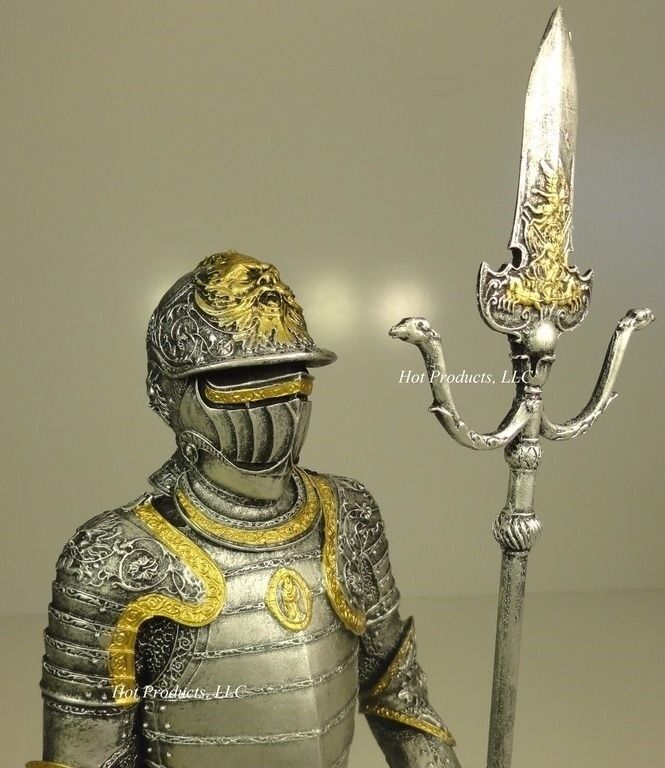 """14"""" MEDIEVAL TIMES CRUSADES KNIGHT STATUE in ARMOR W PARTISAN GOLD SILVER FINISH"""