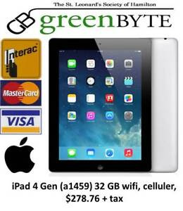 iPad 4th Gen  (a1459) 32 GB,  Black, WIFI, Celluler,