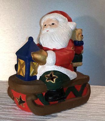 Weihnachten Dekoration Teelichthalter Weihnachtsmann auf Schlitten ()