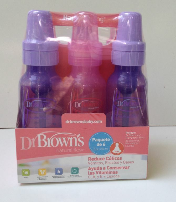 Dr. Brown's Girls' 6 pack 8 oz. bottles - 3 8 oz. Lavender -
