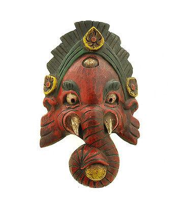 Mask Nepalese of L Himalaya Elephant Dieu Ganesha Wooden Painted 5312