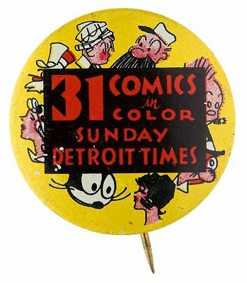 MULTI-CHARACTER BEAUTIFUL 1930s NEWSPAPER COMIC STRIP PROMOTIONAL BUTTON.