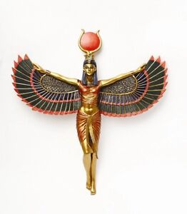 ANCIENT EGYPTIAN COLORFUL GODDESS ISIS OPEN WINGS WALL PLAQUE RESIN FIGURINE