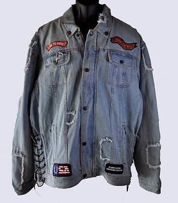 Diamond Plate Denim Vest (Men's Diamond Plate Rag Distressed Denim Jean Motorcycle Jacket Coat 2X)