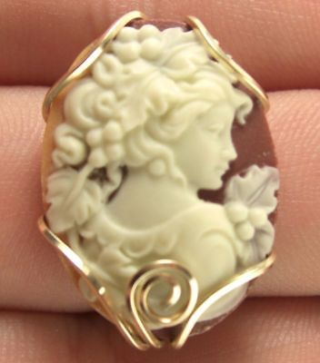 Grecian Goddess Cameo Earrings 14k Rolled Gold Stud