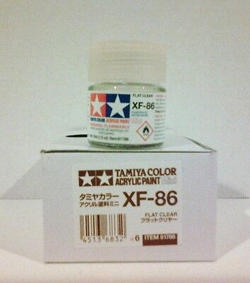 Tamiya acrylic paint, XF-86 Flat clear. 10ml Mini.