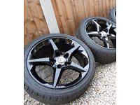 "Genuine Vauxhall Penta 18"" Alloy Wheels Refurbished In Gloss Black - 12M Warranty!"