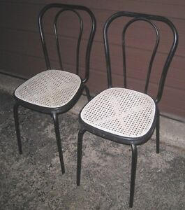 2 Vintage Black metal Chairs with light mesh seats, very solid