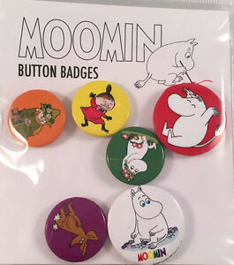 Pack of 6 Moomins Official Licensed Button Badges