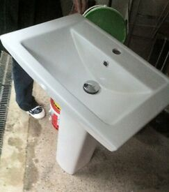 Brand New Pedestal Basin with Pop-up Waste