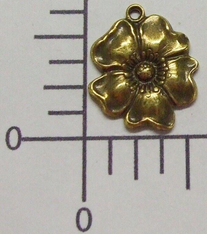 30103       3 Pc Brass Oxidized Flower Jewelry Finding Charm