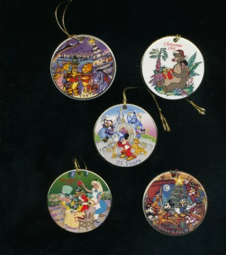 DISNEYANA-group of 5 Disc Ornaments from the 1990s with boxes