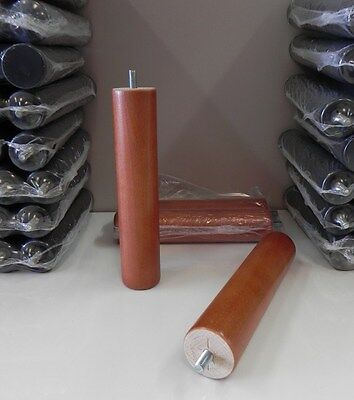 Pack 4 patas de somier cilindricas de madera con rosca. Color cerezo