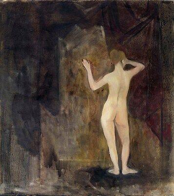 """Russischer Realist Expressionist Öl Leinwand """"Frauenakt"""" 50x50 cm"""