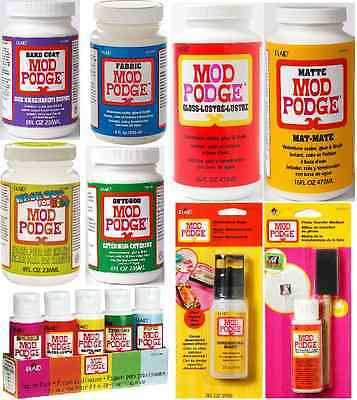 MOD PODGE GLUE SEALER IN MAT GLOSS SATIN  PAPER OUTDOOR GOLD & SILVER FINISHES
