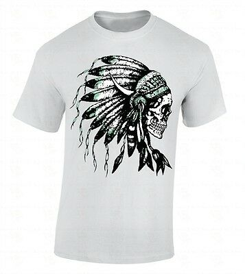 Native Americans Feathers - Headdress Skull T-SHIRT Native American Feathers Indian Tribal Southwest Shirt