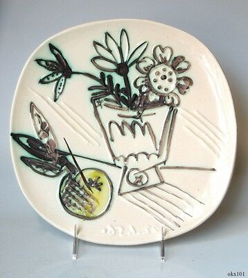 PABLO PICASSO Auth Madoura Ceramic Plate Flowers Bouquet Bunch With Apple #307
