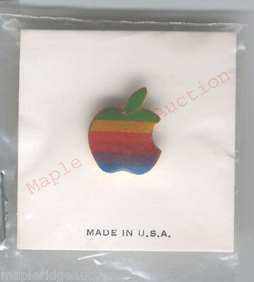 NEW/SEALED Vintage Apple Computer Rainbow Logo Pin AUTHENTIC 1980's-90's on Rummage