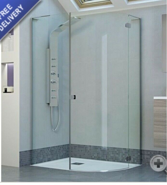 1200 X 900 Frameless Hinged Offset Quadrant Shower Enclosure Right Hand In Craigleith