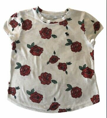 Abercrombie Kids Girls Shirt Top Size 7/8 Red Roses, GOOD CONDITION