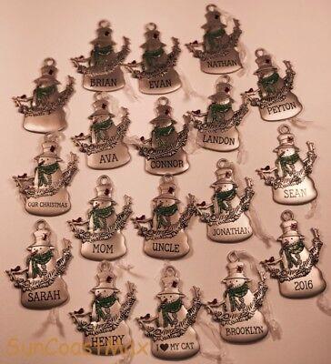 Hallmark Metal Snowman Ornament Green Scarf Girls Boys Name Blank Special People - Metal Snowman Ornament