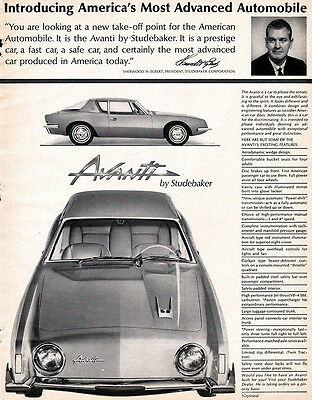 Studebaker Avanti America S Most Advanced Automobile Original 1962 Magazine Ad