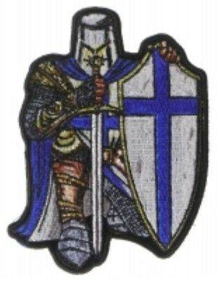 Blue Crusader Knight 3 25  X 4 5  Iron On Patch