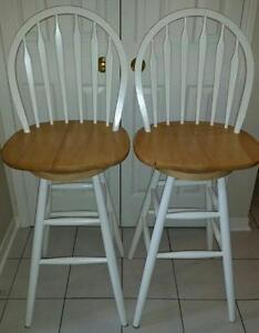Pair of Natural Oak Swivel Bar Stool Chairs