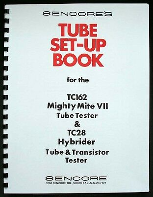 Sencore 149 Page Set-up Book Tube Data Tc162 Tc-162 Tc28 Tc-28