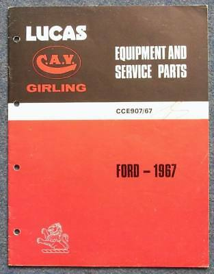 LUCAS Ford Cars Commercial Tractors Spares List 1967