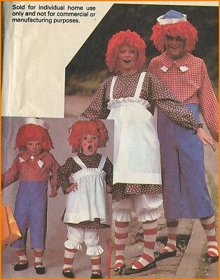 Cute Raggedy Ann and Andy Costume + Yarn Wig Sewing Pattern Child Toddler 6 - 8 - Raggedy Andy Costume Toddler