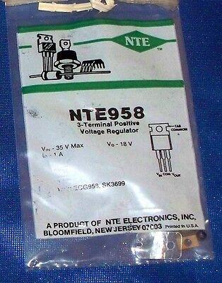 Nte Electronics Nte958 3terminal Positive Voltage Regulator 18v